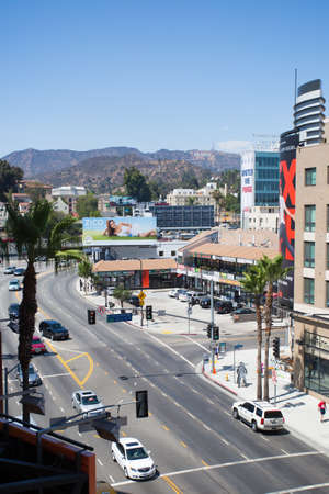 roosevelt hotel: Los Angeles, USA - 5 July: A view over busy Hollywood Boulevard on a summers day  in 2014. Editorial