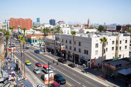 Hollywood boulevard: Los Angeles, USA - 5 July: A view over busy Hollywood Boulevard on a summers day  in 2014. Editorial
