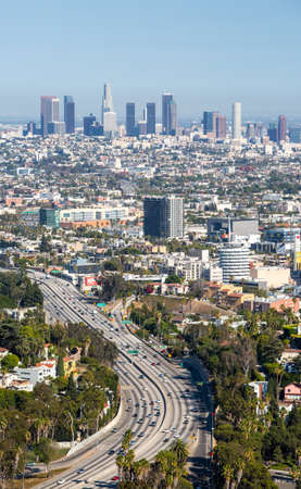 Los Angeles, USA - 6 July: View over LA skyline and the Hollywood Freeway