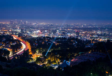 sprawl: Los Angeles, USA - 6 July: View over LA skyline and the Hollywood Bowl during a performance