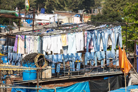 dhobi ghat: The famous laundry area of Dhobi Ghat in Mumbai, India Stock Photo