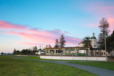 The famous Napier Soundshell, Veronica Sunbay memorial and Dome building at sunrise on a clear spring morning in Napier, New Zealand