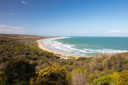 The famous Urquhart Bluff lookout on the Great Ocean Rd looking over Guvvos beach near Aireys Inlet in Victoria, Australia Stock Photo