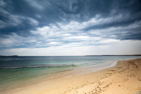 A sudden summer storm looms over Bass Straight and Port Philip Bay from the Bellarine Peninsula, Victoria, Australia Stock Photo