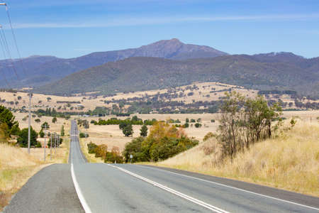 Landscape and roads in the Howqua Valley near Mt Buller on a hot summers day in Victoria, Australia