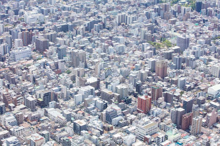 An aerial shot of the Tokyo skyline from the tallest tower in the world, the Tokyo Skytree, in downtown Tokyo, Japan Stock Photo