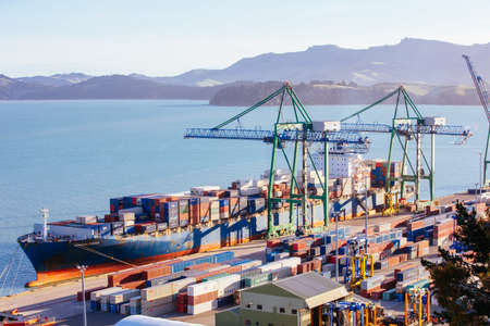 Lyttleton Shipping Port in New Zealand