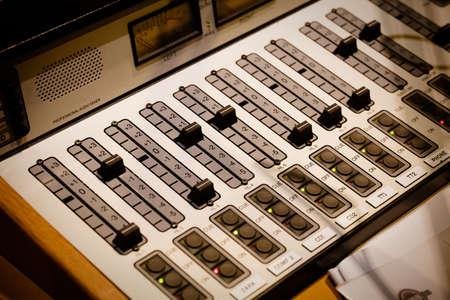 Radio Station Sound Desk and Mixer In A Studio