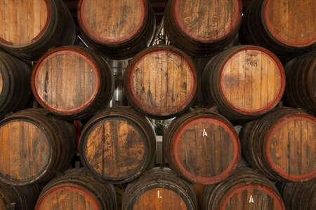 Wine Barrels in Storage Archivio Fotografico