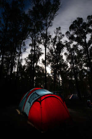 Camping in the Grampians Smiths' Mill Campground at night on a cool autumn evening