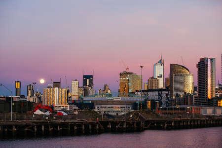 Melbourne Skyline at Dusk in Victoria Australia