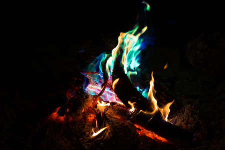 Colored Bonfire Flames in Australia 免版税图像