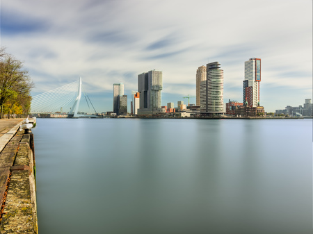 amasing: Spectacular panoramic view of the growing modern city of Rotterdam and river New Waterway
