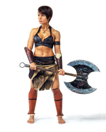 Beautiful athletic woman in the image of the warrior of the ancient world on white background.