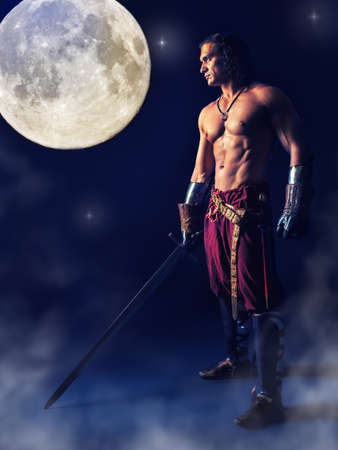 half medieval warrior with a sword in the mystic background