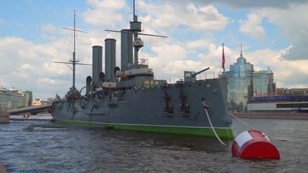 Saint-Petersburg, Russia - July 2, 2017: Cruiser Aurora