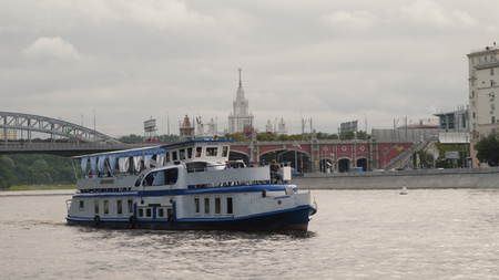Moscow, Russia - July 13, 2017: Pleasure boat sailing across the Moscow River