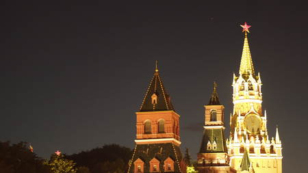 The Spassky Tower of the Moscow Kremlin at night Moscow Russia