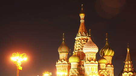 St. Basils Cathedral at night. Moscow Russia