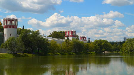 Novodevichy monastery on the shore of the pond. Moscow, Russia Stok Fotoğraf