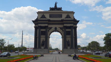 Moscow, Russia - July 16, 2017: Triumphal arch in Moscow The triumphal arch in Moscow was erected from 1829 to 1834 in honor of a victory over Napoleon