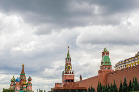 The Kremlin wall is a mausoleum and the temple of the Basil of the Blessed. Red Square. Moscow