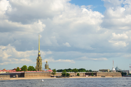 Panorama of the Peter and Paul Fortress in Saint Petersburg, Russia 報道画像