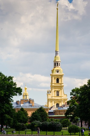 The spire of the Peter and Paul Fortress. Saint Petersburg, Russia