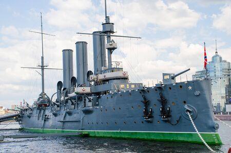 St. Petersburg, Russia - 3 July: Cruiser Aurora in St. Petersburg.