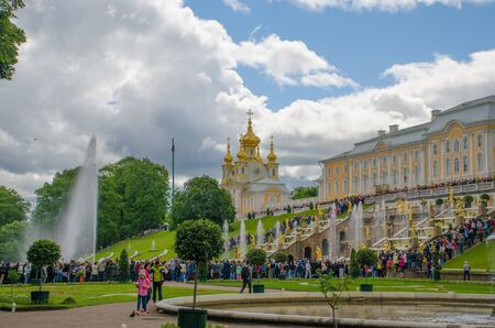 Peterhof, Russia - July 11, 2017: The Grand Cascade is the main fountain of Peterhof
