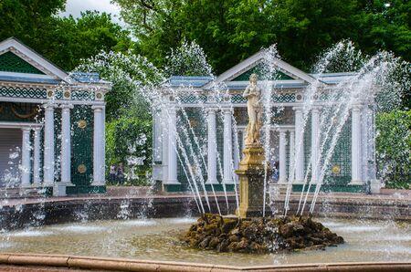 Peterhof, Russia - July 11, 2017: Fountain Eva Peterhof