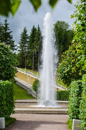 Peterhof, Russia - July 11, 2017: Managere fountain at the foot of the cascade Golden Mountain . Fountains of Peterhof