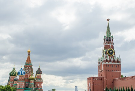 Spasskaya Tower and Cathedral of Saint Basil the Blessed St. Basils Red Square Moscow Russia 写真素材