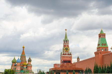 Cathedral of St. Basil the Blessed, Spassky Tower and the Mausoleum. Red Square Moscow 写真素材