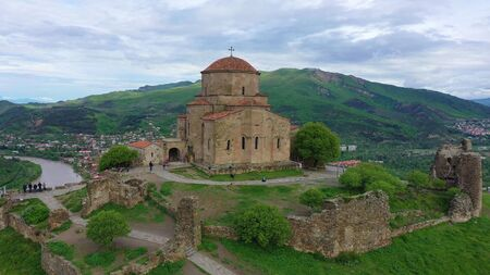 Aerial view. The masterpiece of Early Christian Orthodox architecture Jvari Monastery in Georgia.
