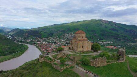 Aerial view. Jvari or Jvari Monastery is a Georgian Orthodox monastery of the 6th century near Mtskheta
