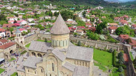 Svetitskhoveli Cathedral aerial view, it is a Georgian Orthodox cathedral located in Mtskheta, Georgia