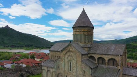 The Svetitskhoveli Cathedral is an Eastern Orthodox cathedral located in the historic town of Mtskheta, Georgia. Aerial view.