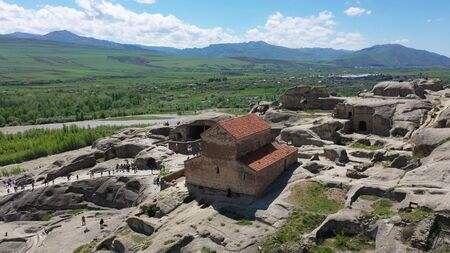 Uplistsikhe is an ancient rock-hewn town in eastern Georgia. Aerial view.