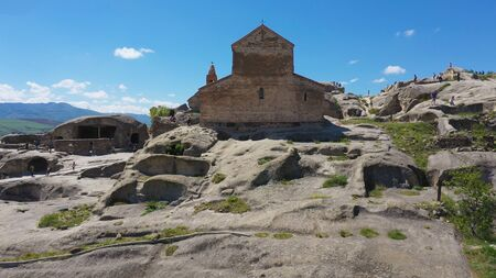 Uplistsikhe - The Ancient Cave Town in Georgia. Aerial view.