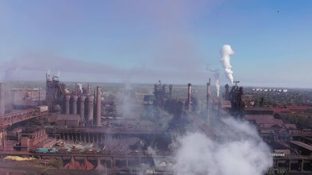 Smoke, dust, smog from a metallurgical plant. Aerial view 写真素材