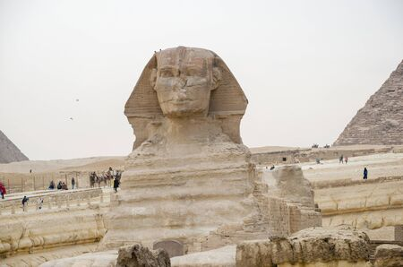 The Great Sphinx on the west bank of the Nile in Giza - the oldest surviving monumental sculpture on Earth. Egypt