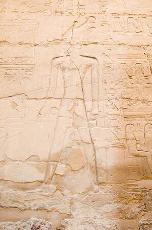 Wall paintings in Karnak Temple in Luxor. Egypt Stockfoto