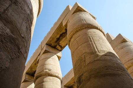 Columns with drawings in the Karnak Temple in Luxor. Egypt. Egyptian Art. Stockfoto
