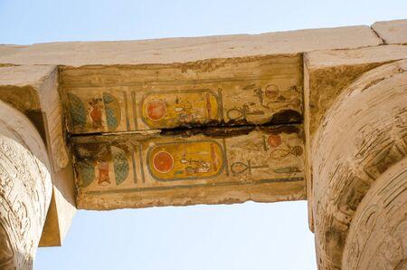 Ancient Egyptian art on stone blocks at Karnak Temple in Luxor. Egypt