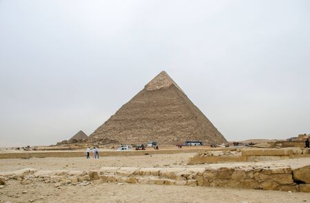 Cairo, Egypt - January 14, 2020 : The Pyramid of Khafre or of Chephren is the second-tallest and second-largest of the Ancient Egyptian Pyramids of Giza