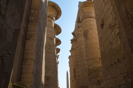 Columns with hieroglyphs in Karnak Temple at Luxor, Egypt