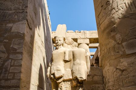 Egyptian Art. Ancient sculpture in the Karnak Temple in Luxor. Egypt Stockfoto