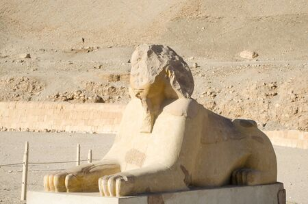 Sphinx near Mortuary Temple of Hatshepsut in Luxor, Egypt