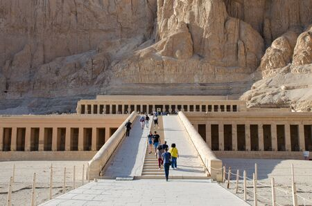Luxor, Egypt - January 16, 2020 : The Mortuary Temple of Hatshepsut, also known as the Djeser-Djeseru Redactioneel